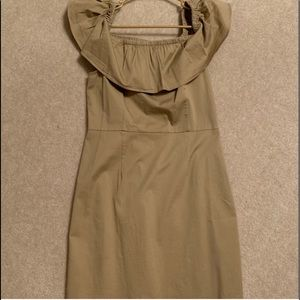 1. State Tan Off the Shoulder Dress